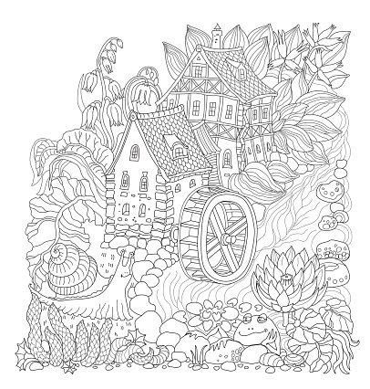 Vector black and white outline contoured fairy tale landscape, flowers, small fantasy Water Mill building, river, frog and snail on a white background. T shirt print. Adults and children Coloring Book page