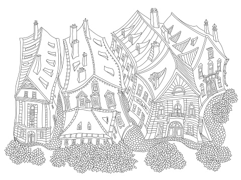 Vector black and white outline contoured fantasy landscape, fairy tale small town medieval buildings. T shirt print. Adults Coloring Book page, Travel brochure