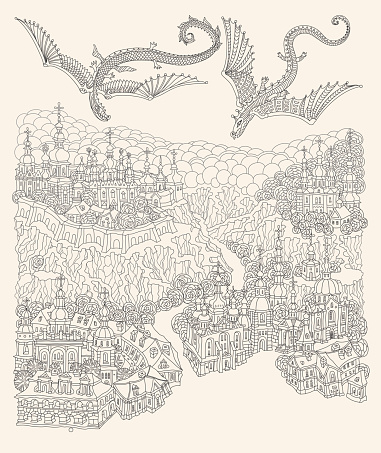 Vector black and white outline contoured fantasy landscape, fairy tale small town buildings and flying dragon, church and garden on a beige background. T shirt print. Adults and Children Coloring Book page