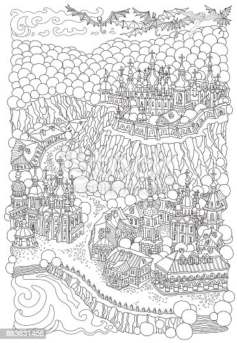Vector Black And White Outline Contoured Fantasy Landscape