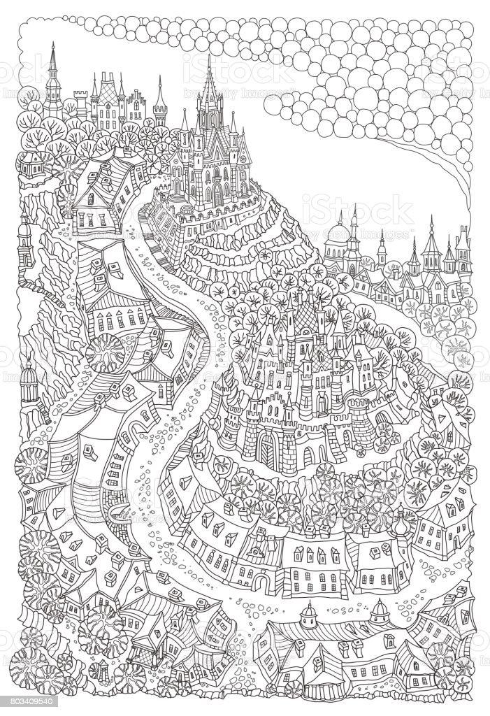 Town Landscape Vector Illustration: Vector Black And White Outline Contoured Fantasy Landscape