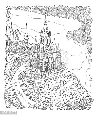 Vector black and white outline contoured fantasy landscape, fairy small town buildings, river, street, castle and palace on a white background. T shirt print. Adults and children Coloring Book page. Batik contour