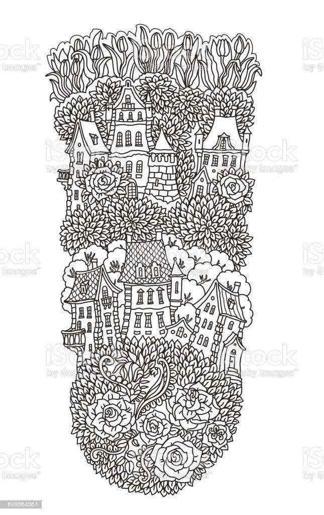Vektör Siyah Beyaz Anahat Fantezi Manzara Ağaç Gül Lale çiçek Peri
