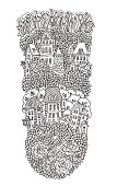 Vector black and white outline contoured fantasy landscape, tree, rose, tulip flowers, fairy small town buildings and garden. T shirt print. Coloring book vertical page, poster, Embroidery print