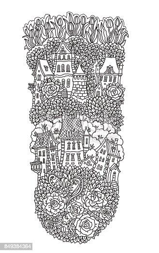 vector black and white outline contoured fantasy landscape