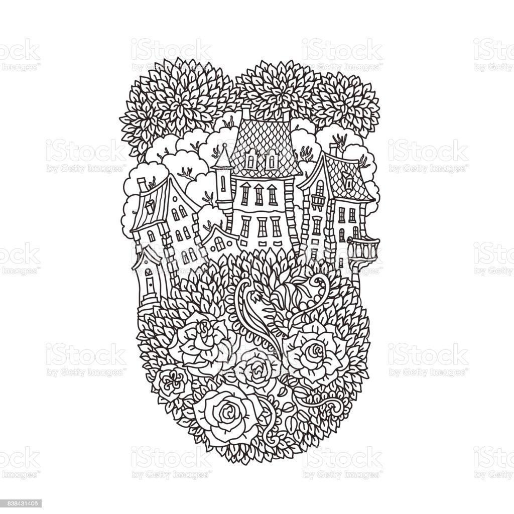 Vektör Siyah Beyaz Anahat Fantezi Manzara Ağaçlar Gül çiçek Peri