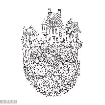 🔥 Imagen de Paisaje de fantasía de contorno contorneada vector ...