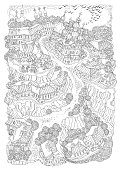 Vector black and white outline contoured fantasy landscape, trees, fairy small town buildings, church, garden and flying birds on a white background. T shirt print. Adults Coloring Book page
