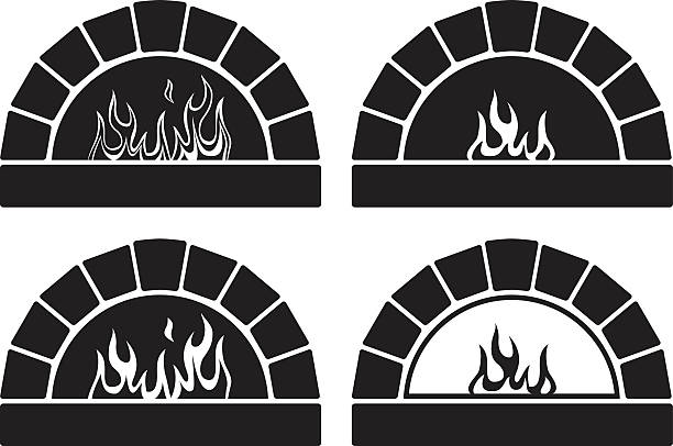 vector black and white ovens with  fire vector black and white clipart set of ovens with burning fire oven stock illustrations