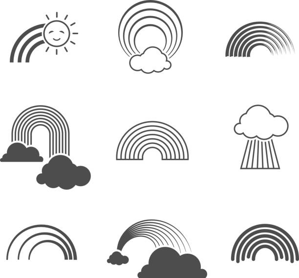 Vector black and white rainbow icons. Summer rainbows signs isolated on background Vector black and white rainbow icons. Summer rainbows signs isolated on white background. Rainbow with sun and cloud illustration natural arch stock illustrations