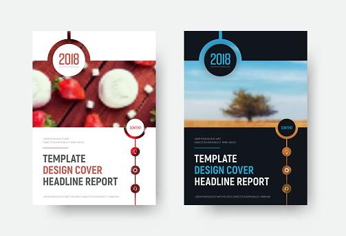 Vektor Schwarze Und Weiße Abdeckung Berichtsvorlage Mit Einem Platz Für Ein Foto Stock Vektor Art und mehr Bilder von 2018