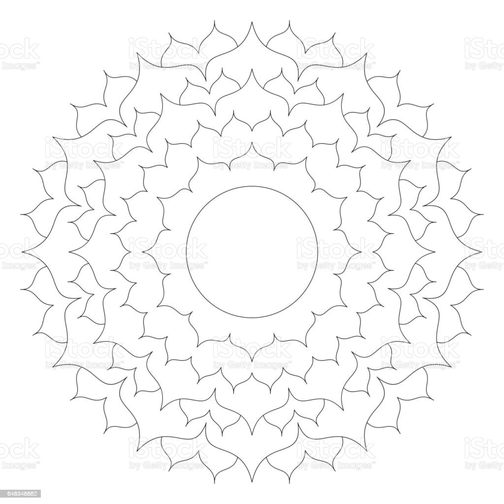 Vector Black And White Round Simple Mandala Lotus Flower