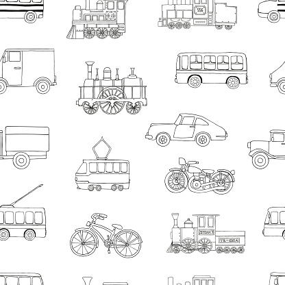 Vector black and white seamless pattern of retro engines and transport.