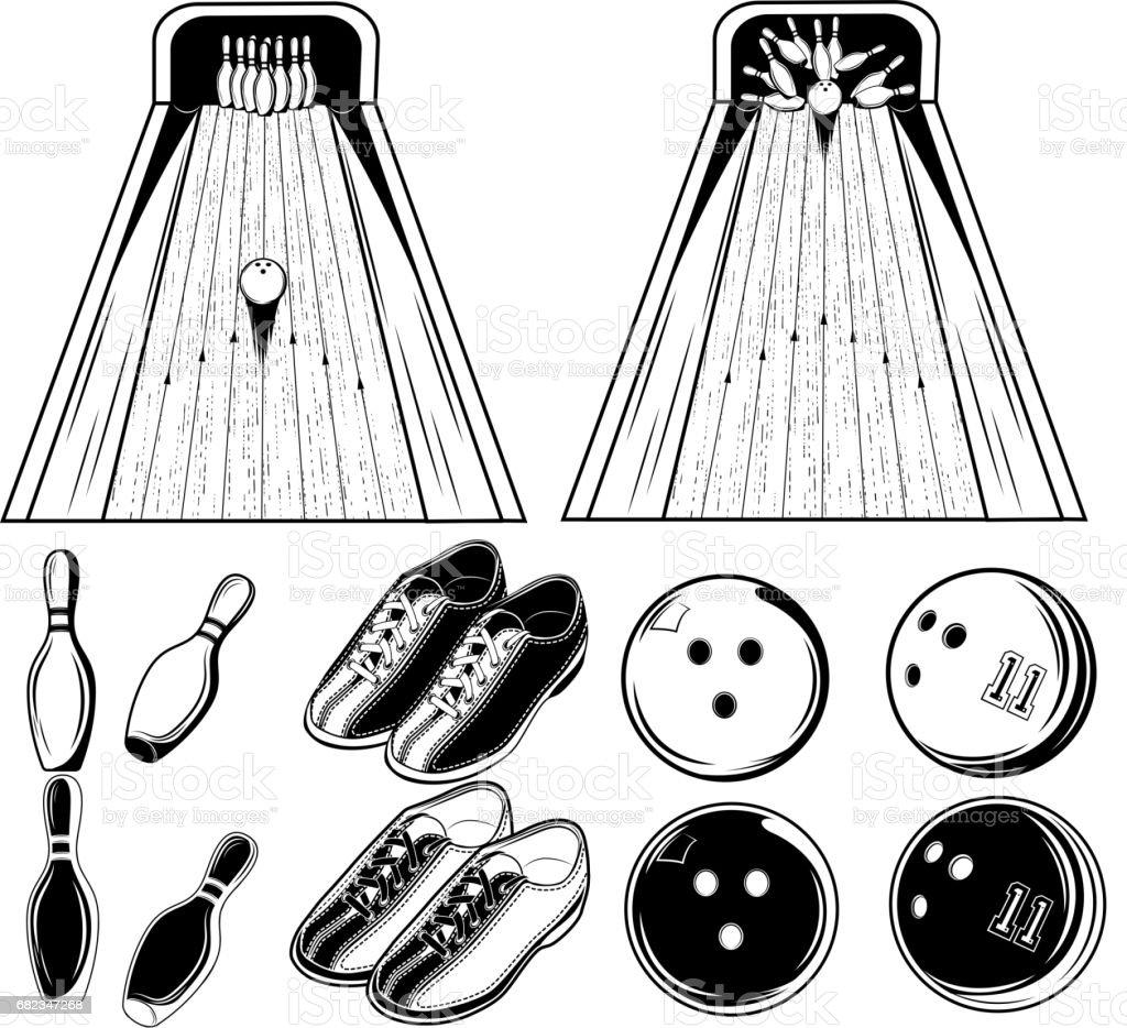 Vektor svartvita uppsättning element av bowling spel för print, design eller webb på vit bakgrund royaltyfri vektor svartvita uppsättning element av bowling spel för print design eller webb på vit bakgrund-vektorgrafik och fler bilder på boll