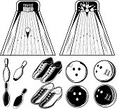 Vector black and white set of elements of bowling game for use in print, design or web on white background