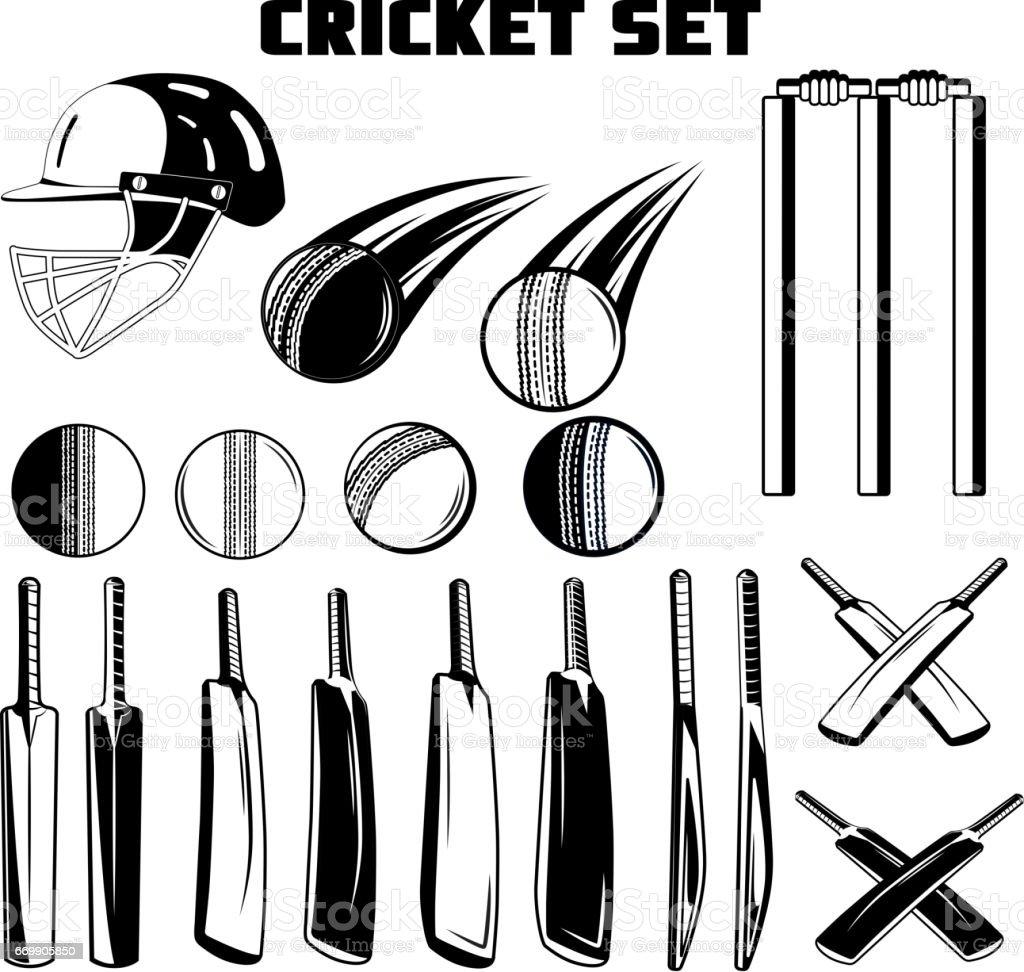 Vector black and white set of game cricket bats, balls, helmet for your design, logo, print, web on a white background vector art illustration