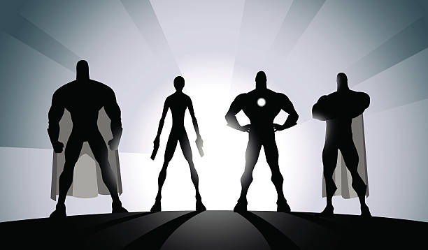 Vector Black and White Superhero Team Silhouette A silhouette style vector illustration of a superhero team.  four people stock illustrations