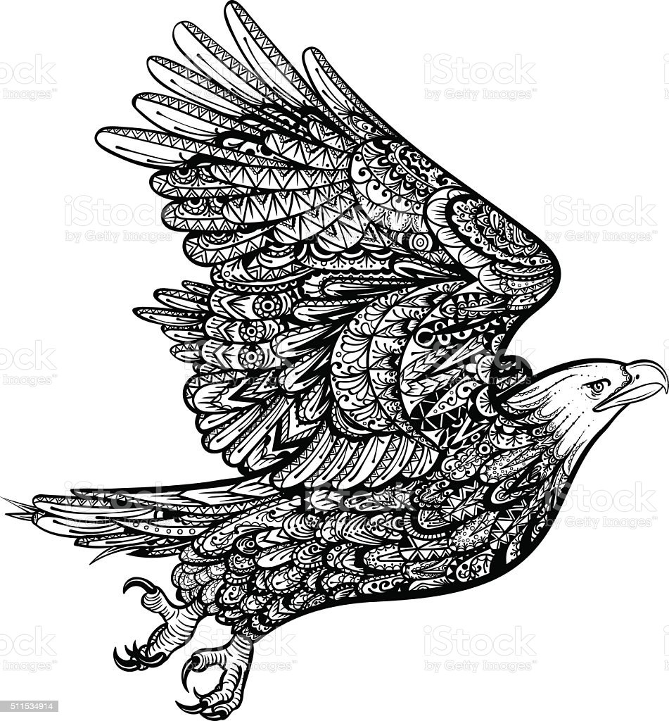 ベクトル白黒のタトゥーアメリカンイーグルイラストレーション の