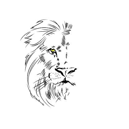 Vector Black and White Tattoo King Lion Illustration - Illustration