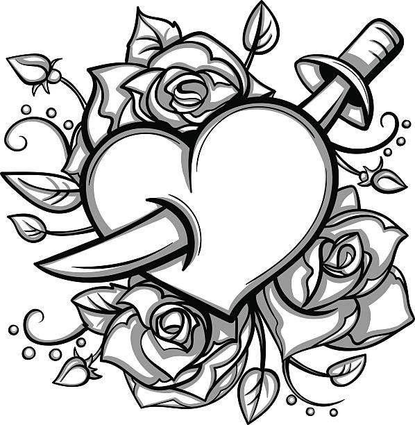 ベクトル白黒のタトゥーナイフハートローズイラストレーション - 短剣のタトゥー点のイラスト素材/クリップアート素材/マンガ素材/アイコン素材