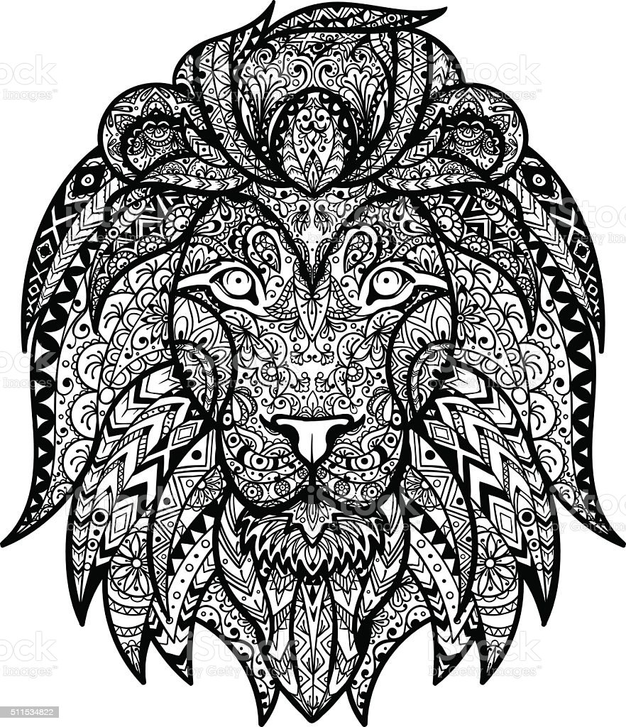 Vector Black and White Tattoo Lion Head Illustration vector art illustration