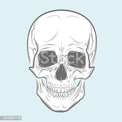 istock Vector Black and White Tattoo Skull Illustration 1312551773