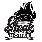 Vector black and white template for steak house with calligraphic lettering.