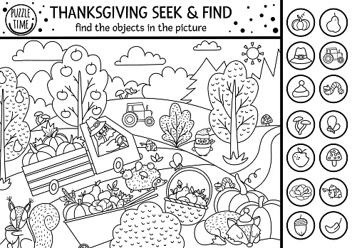 Vector black and white Thanksgiving searching game or coloring page with cute turkey in the field. Spot hidden objects. Simple seek and find s outline autumn or farm printable activity