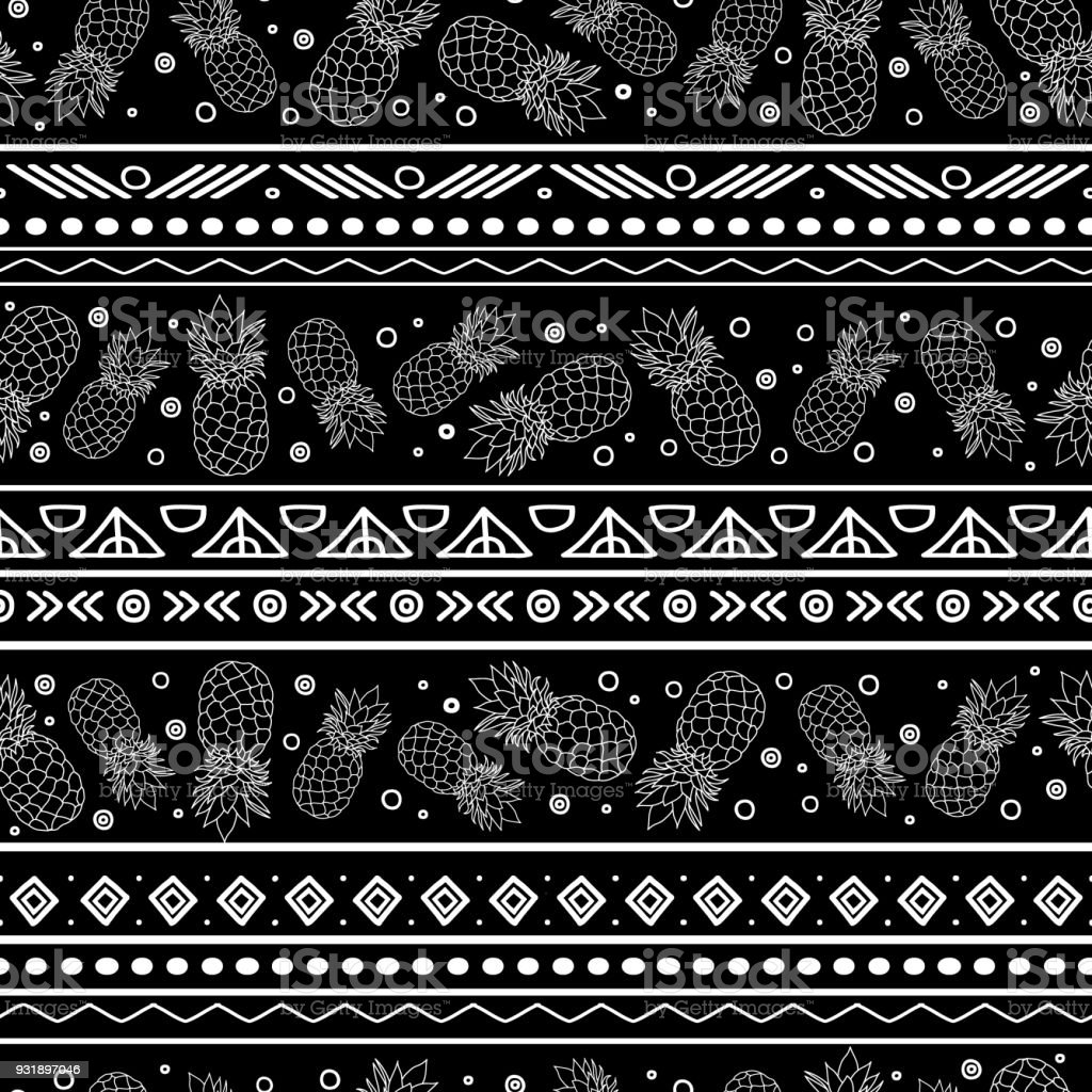 Vector Black And White Tribal Pineapples Stripes Seamless Pattern Background Great For Fabric Wallpaper