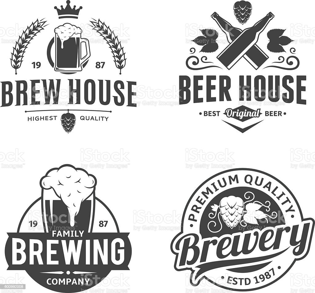 Vector black and white vintage beer labels, icons and design elements vector art illustration