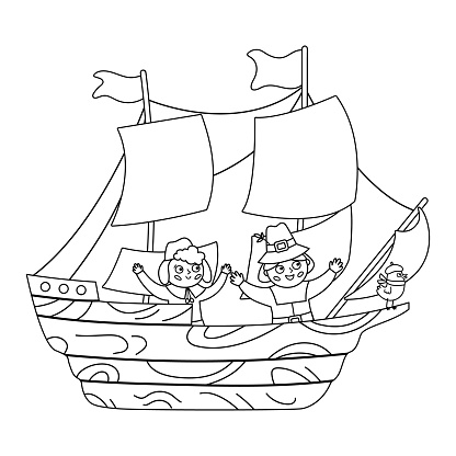 Vector black and white wooden ship with pilgrims isolated on white background. Pilgrim historical boat outline illustration. Thanksgiving Day line icon. First American people transportation