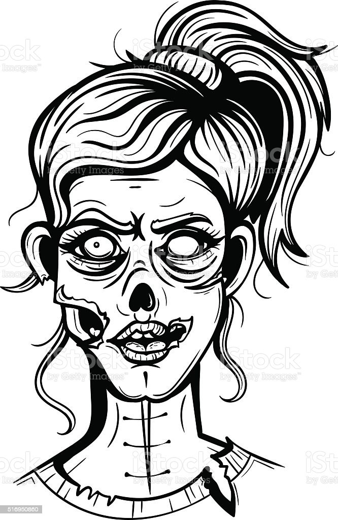 Vector black and white zombie girl illustration royalty free vector black and white zombie girl