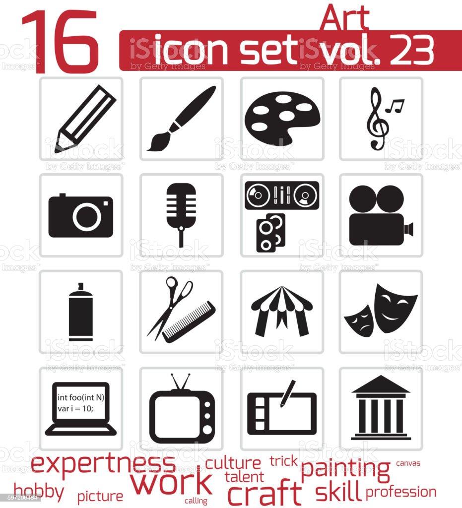 Vector noir art groupe d'icônes vector noir art groupe dicônes – cliparts vectoriels et plus d'images de arranger libre de droits