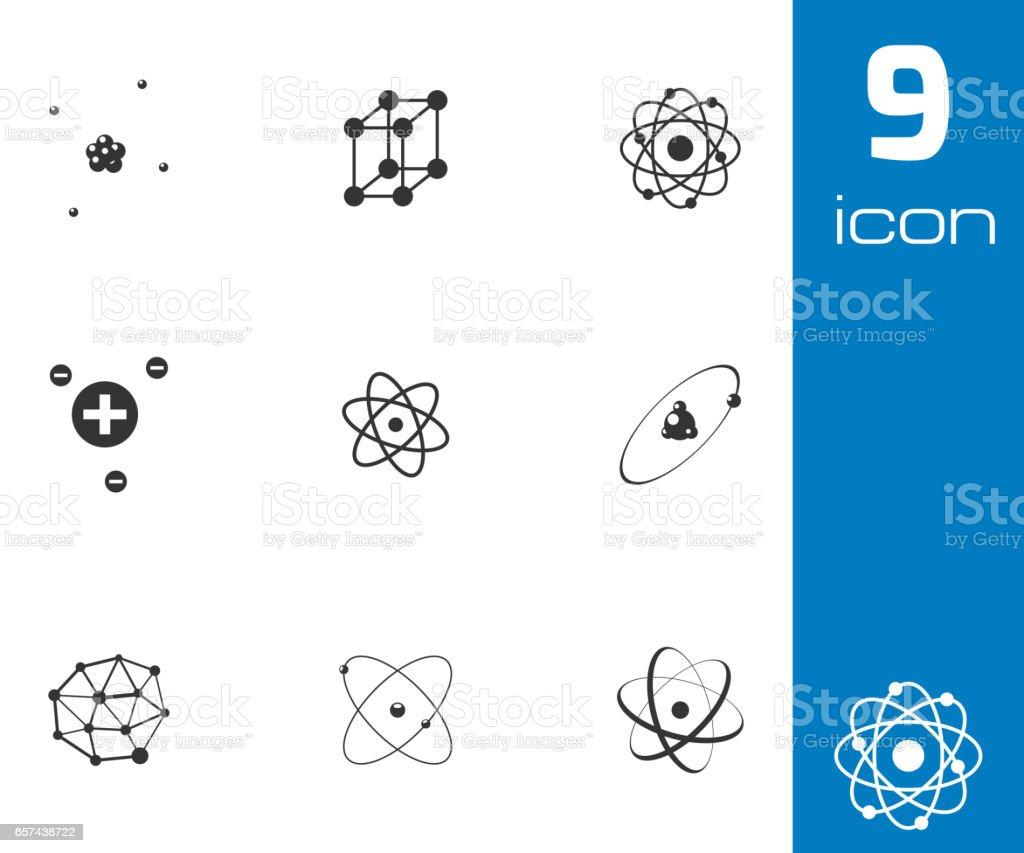 Vector black atom icons set vector art illustration