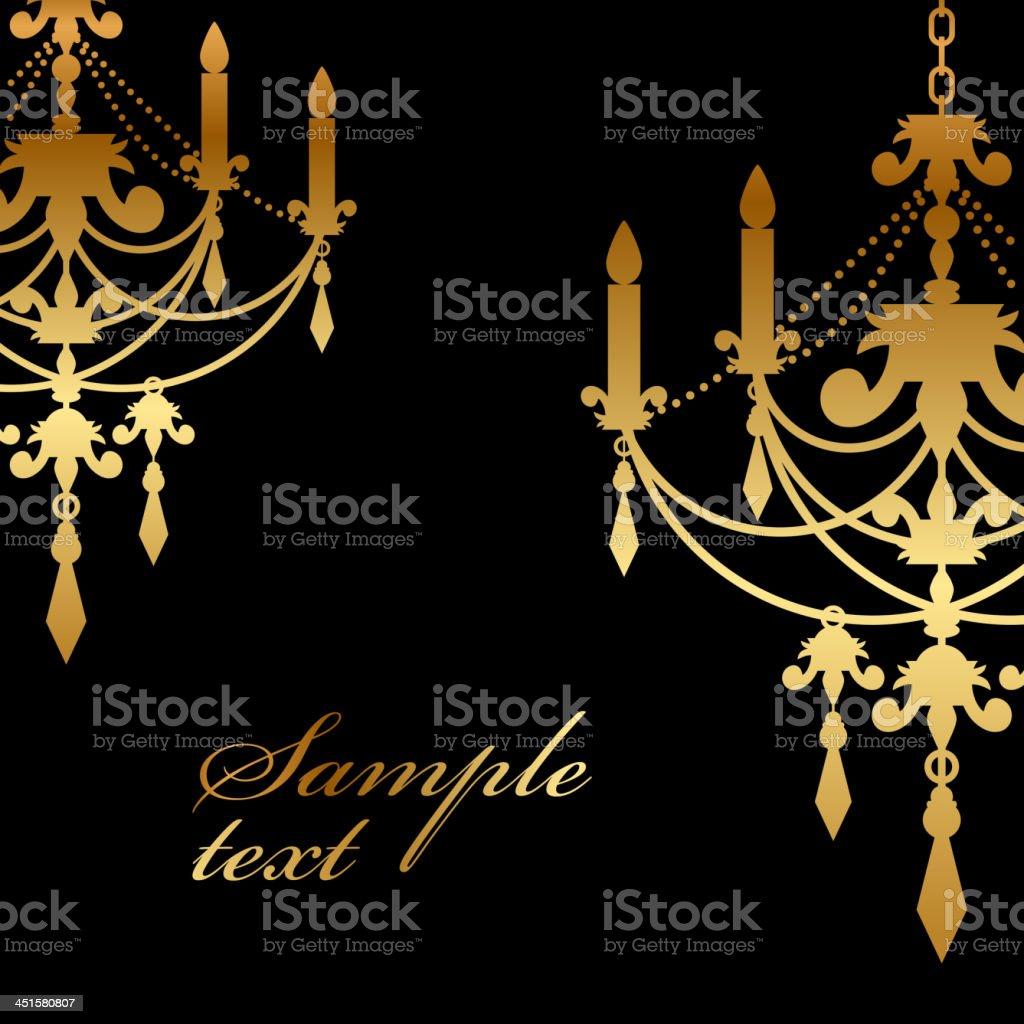 Vector black background with gold chandelier vector art illustration
