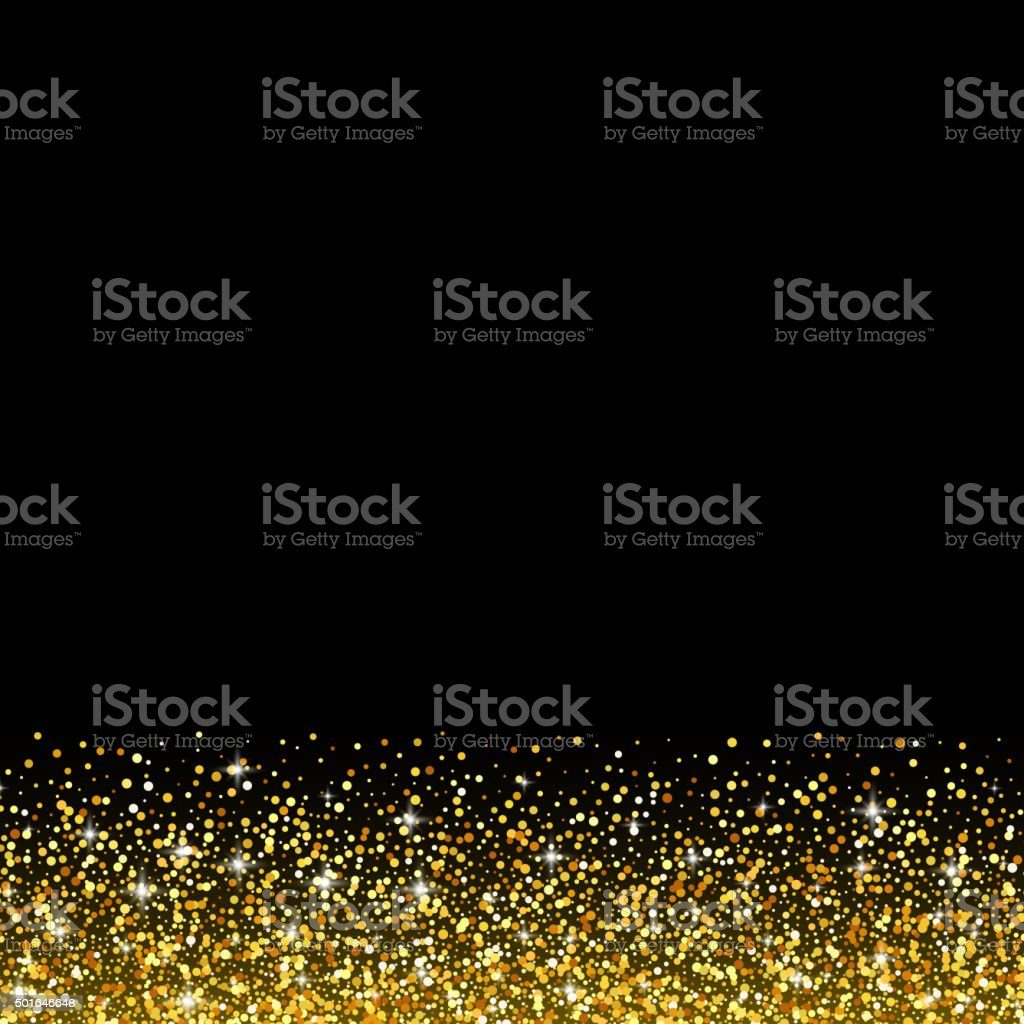 Vector black background with gold glitter sparkle, greeting card template vector art illustration