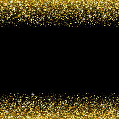 Vector black background with gold glitter sparkle, template