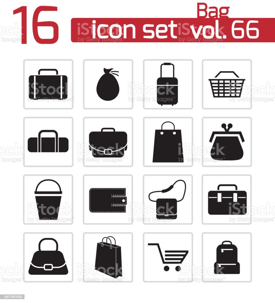 Vector Black Bag Icons Set Stock Vector Art & More Images of Arranging