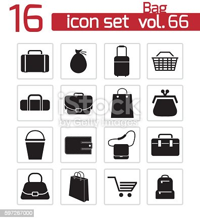 Vector Black Bag Icons Set Stock Vector Art & More Images of Arranging 597267000