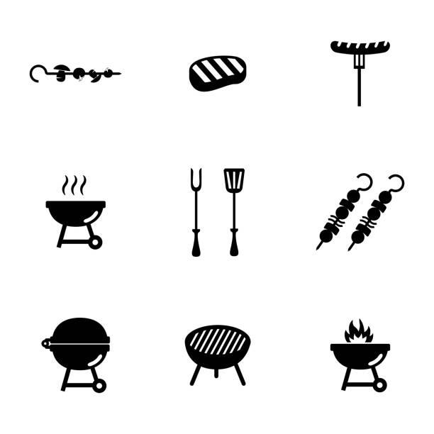 illustrations, cliparts, dessins animés et icônes de vector noir icônes set barbecue - barbecue