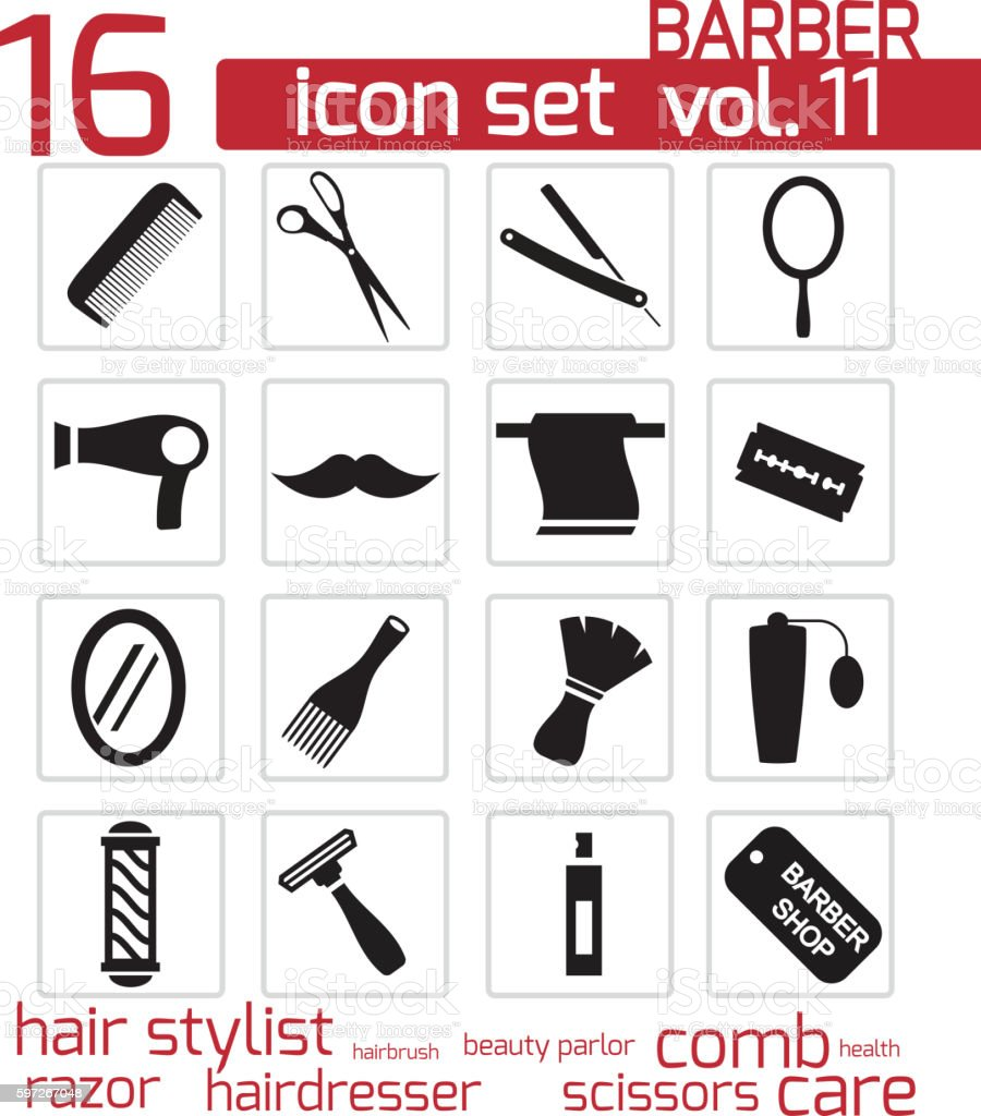Vector black barber icon set royalty-free vector black barber icon set stock vector art & more images of animal hair