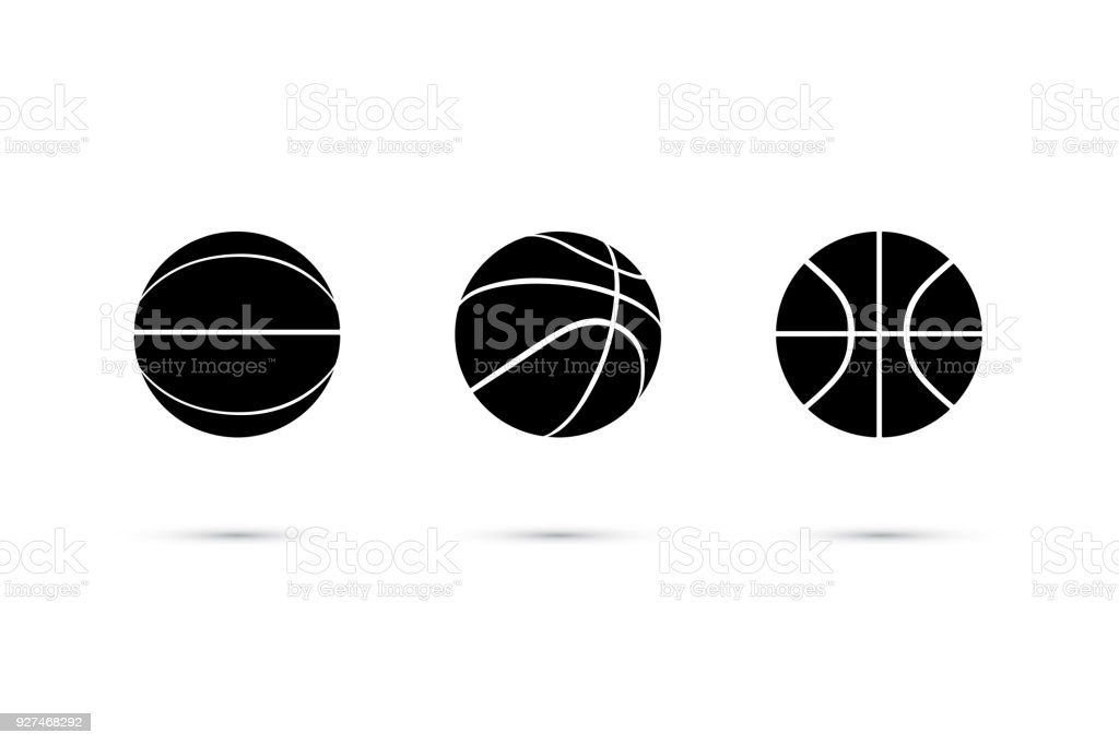 Vector black basketball ball icon set isolated on white background. векторная иллюстрация