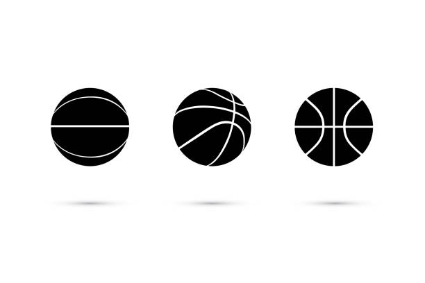 Vector black basketball ball icon set isolated on white background. Vector black basketball ball icon set isolated on white background. basketball stock illustrations