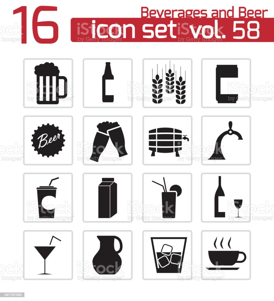 Vector black beer and  beverage icons set royalty-free vector black beer and beverage icons set stock vector art & more images of alcohol