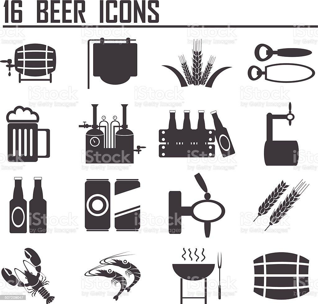 16 Vector black beer icons set. royalty-free stock vector art