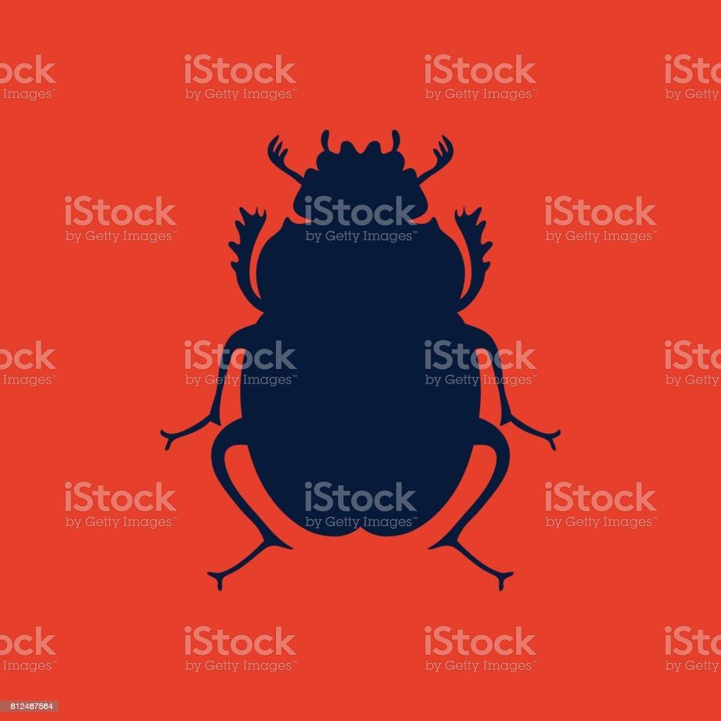 vector black beetle egyptian symbol lady bug icon template stock
