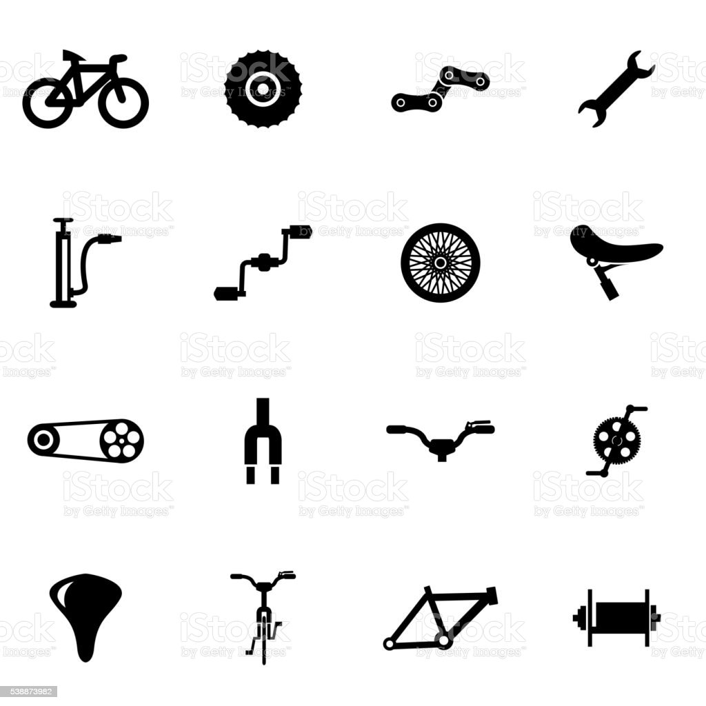 Vector black bicycle icon set vector art illustration