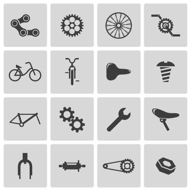 ilustraciones, imágenes clip art, dibujos animados e iconos de stock de iconos vector de negro conjunto de bicicleta parte - pedal