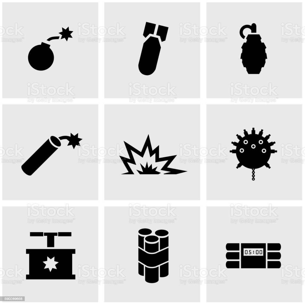 Vector black bomb icon set vector art illustration