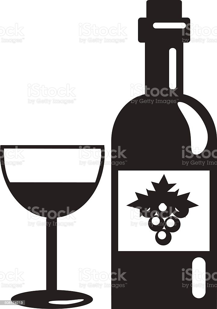 Vector Black Bottle of Wine Icon royalty-free stock vector art